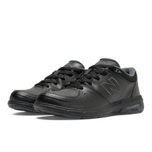 New Balance Women's WW813BK.  Black Leather  Walker with Rollbar Support and Widths from AA to 4E