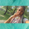 Customer emceeback_ wearing braids in Sky Blue, Lavender, and Pastel Pink