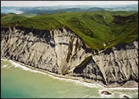 Coastal erosion, Cape Turnagain, Wairarapa