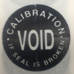 "3/4"" Calibration Void if Seal is Broken - Tamper Proof Seal"