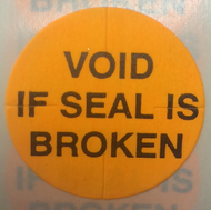 "TTP1012   1""  Orange Void If Seal Is Broken  - Tamper Proof Seal"