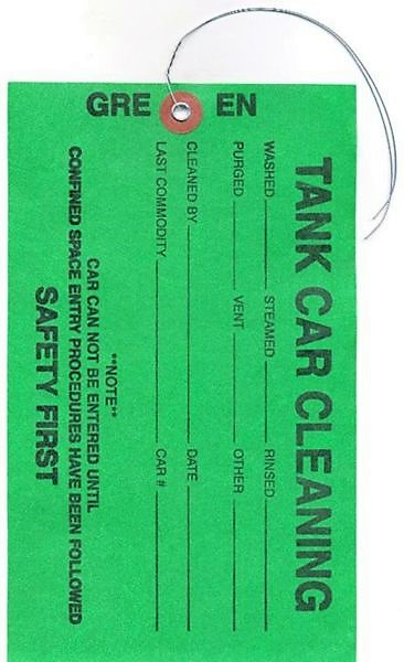 """Tyvek Tank Car Cleaning Tag.     Tyvek® is one of the first films used for manufacturing weather resistant tags. It is oil and grease resistant too. Here it is being used to help keep employees and workers safe with important information as well as a way to write down work done.  Specifications Width 4 1/2 inches  Height 7 5/8 inches  Material 1079 Tyvek® Material  Features  1079 Tyvek® Material Tinted Color 2-Sides Fiber Patch Reinforced Hole + Metal Eyelet Wire Attached Tag Measures 4 1/2"""" x 7 5/8"""""""