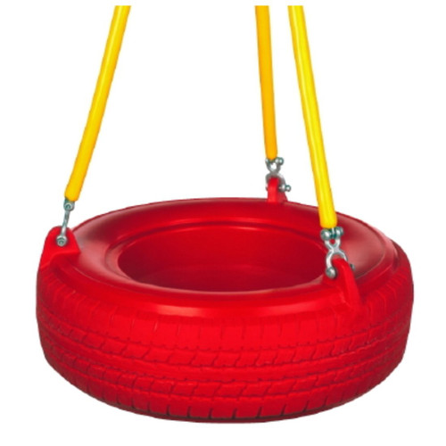3 point horizontal commercial plastic tire swing red tire yellow soft grip coated chain Montgomery Tire Swings 2