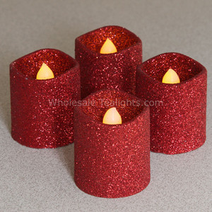Set of 4 LED Flameless Red Glitter Votives