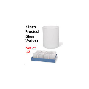 Set of 12 Frosted Glass Votive Holders - 3 Inch