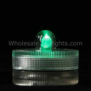 Green Waterproof Submersible Tea Light - 10 Pack