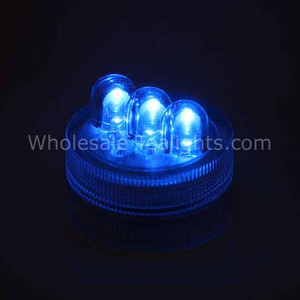 Super Bright 3 LED Blue Waterproof Submersible Tea Light - 10 Pack