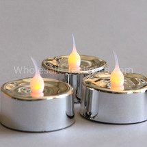 Flameless LED Silver Metallic Tealight - 3 Pack