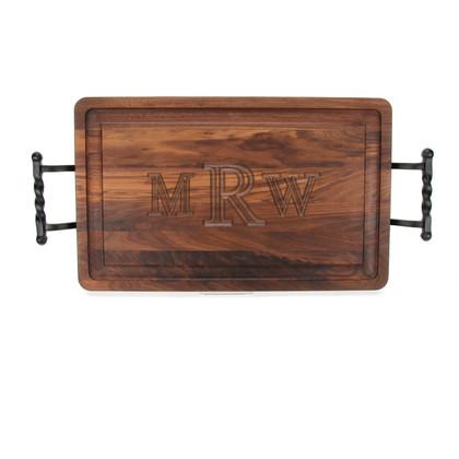 Carved Monogram 15 x 24 Rectangle Walnut Cutting Board w/ Twisted Ball Handles