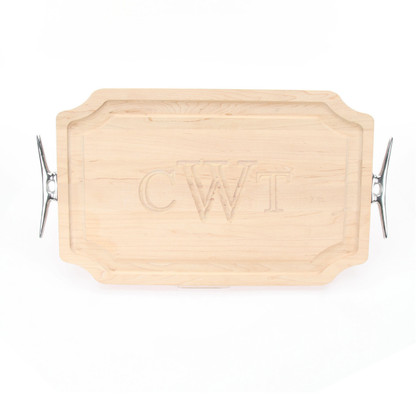 Carved Monogram 15 x 24 Scalloped Maple Cutting Board w/ Cleat Handles