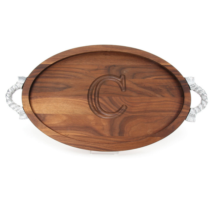 Carved Initial 15 x 24 Oval Walnut Cutting Board with Rope Handles