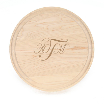 "10"" Round Maple Cutting Board - Laser Engraved Monogram"