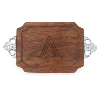 Carved Initial 9 x 12 Scalloped Walnut Cutting Board with Scalloped Handles