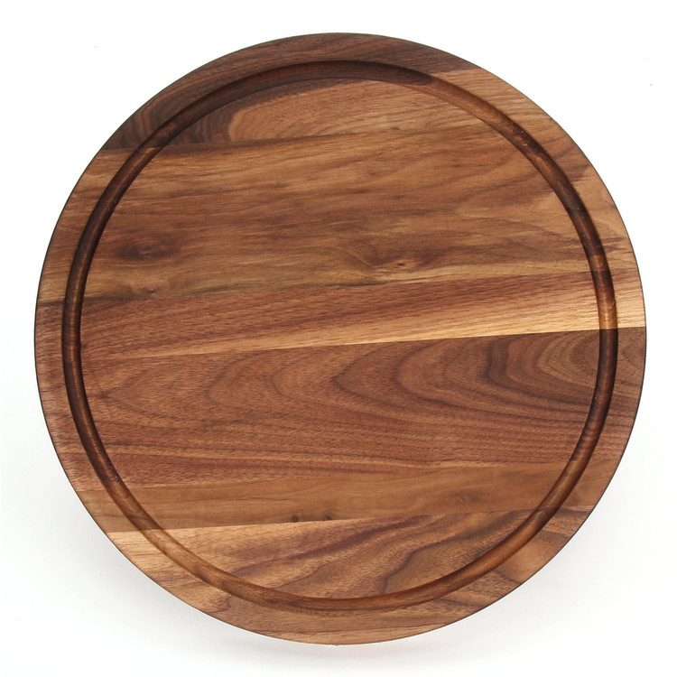 "Carved Initial 16"" Round Walnut Cutting Board"