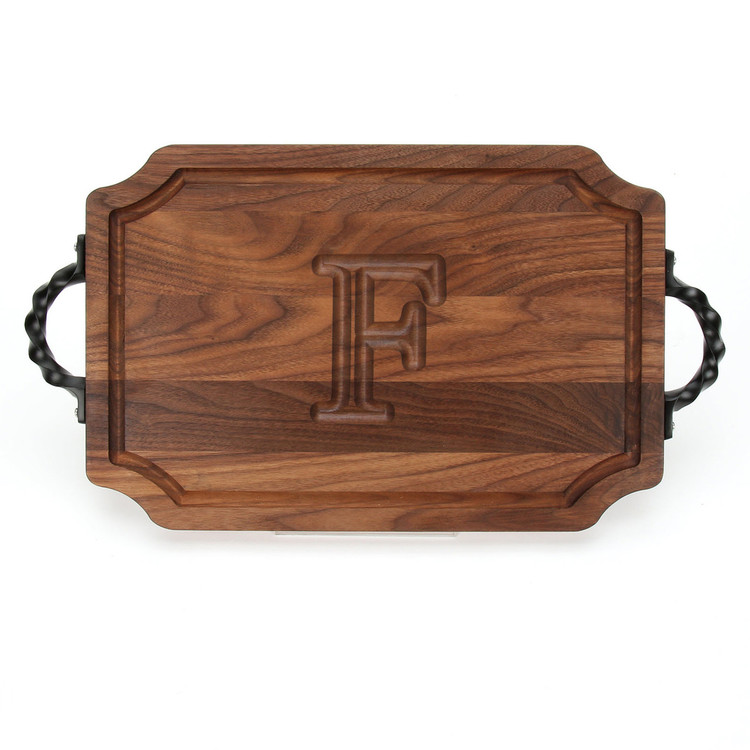 12 x 18 Walnut Scalloped Cutting Board - Twisted Handles - Carved Initial