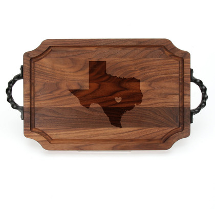 "Laser Engraved State and Heart 12"" x 18"" Scalloped Walnut Cutting Board w/ Twisted Handles"