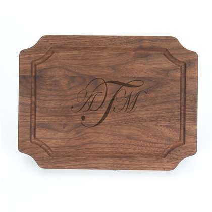 "Laser Engraved Monogram 9"" x 12"" Scalloped Walnut Cutting Board"