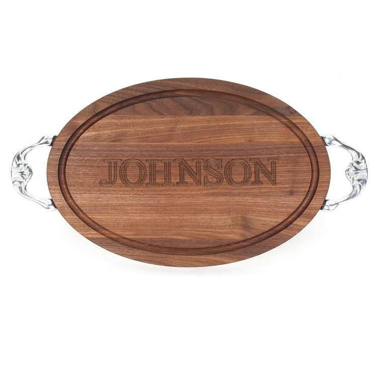 """Carved Name 12"""" x 18"""" Oval Walnut Cutting Board w/Victorian Handles and Engraved Students Signatures"""