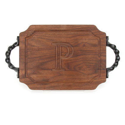 "Carved Initial 9"" x 12"" Scalloped Walnut Cutting Board w/Twisted Handles and Engraved Students Signatures"