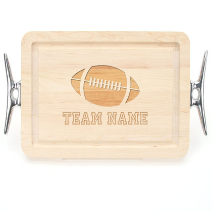 "Sport Engraved 9"" x 12"" Rectangle Maple Cutting Board w/Cleat Handles and Engraved Players Signatures"