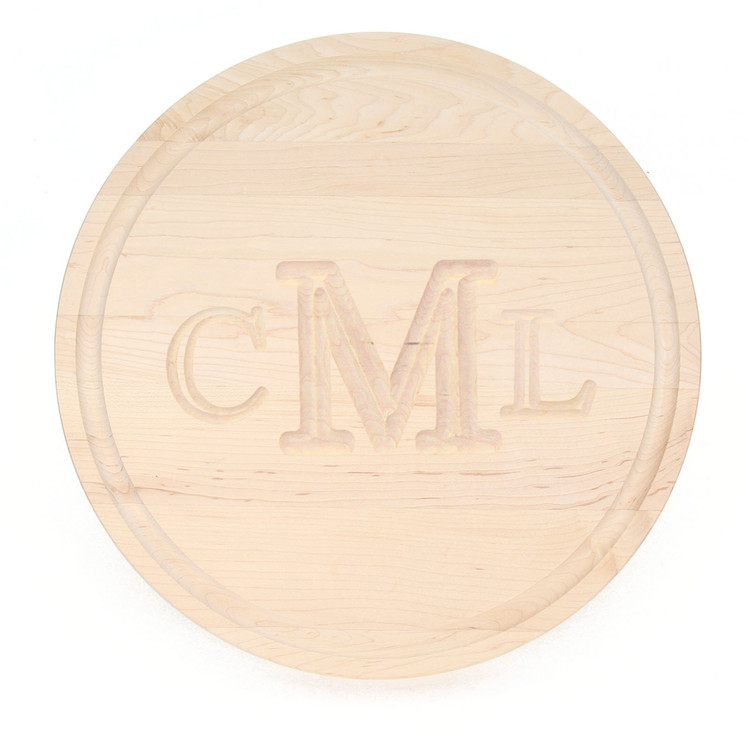 "16"" Round Maple Cutting Board - Carved Monogram"