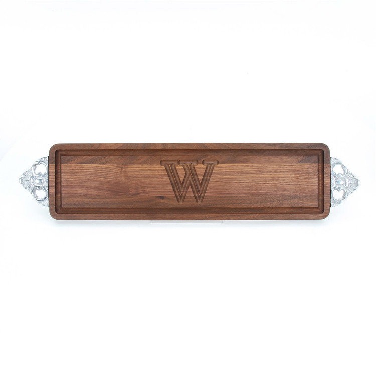 Walnut Bread Board - Scalloped Handles - Carved Initial
