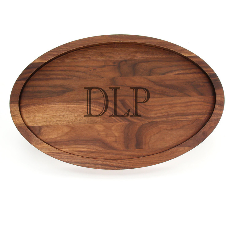 Walnut 15 x 24 Oval Trencher Cutting Board - Laser Engraved Monogram