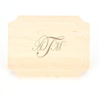 9 x 12 Maple Scalloped Cutting Board - Laser Engraved Monogram
