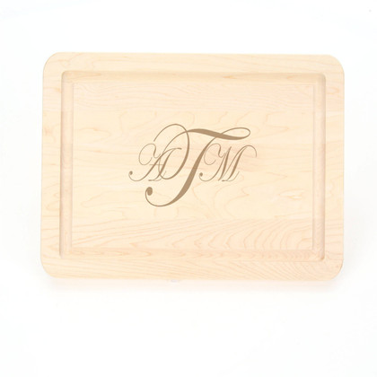 9 x 12 Maple Rectangle Cutting Board - Laser Engraved Monogram
