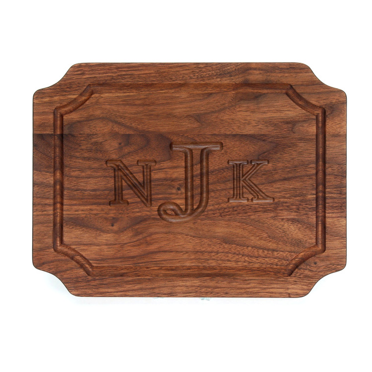 9 x 12 Scalloped Walnut Cutting Board - Carved Monogram