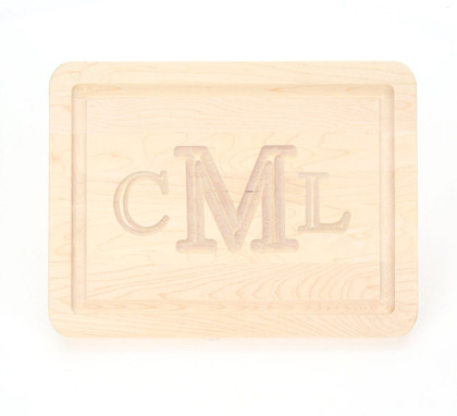 9 x 12 Rectangle Maple Cutting Board - Carved Monogram