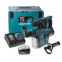 Makita DHR242RMJV 18V li-ion SDS Plus Brushless 3 Mode Rotary Hammer Drill 24mm + DX01 Dust Extraction System 2 x 4Ah Batteries from Duotool