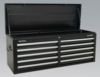 Sealey Topchest 10 Drawer with Ball Bearing Runners - Black from Toolden