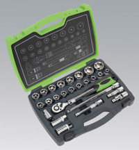 "Sealey Socket Set 26pc 1/2""Sq Drive 6pt WallDrive® Metric from Toolden"