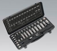 "Sealey Socket Set 34pc 3/8""Sq Drive 6pt WallDrive® Metric Black Series from Toolden"