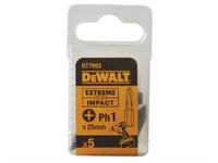 Dewalt DT7993 EXTREME Impact Bits PH1 25mm Pack of 5 | Toolden