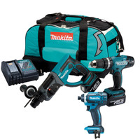 Makita DLX2025M 18v 2 x 4.0Ah LXT Combi SDS Hammer Drill Triple Pack from Duotool