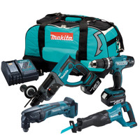 Makita DLX2025M 18v 2 x 4.0Ah LXT Combi SDS Hammer Drill Twin Pack from Duotool
