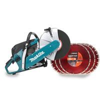 Makita EK6100 Petrol Cut Off Saw & 5 x 300mm Diamond Blade Cutting Discs