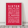 Sister Print in Red, with optional Australian-made white timber frame