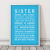 Sister Print in Sky Blue, with optional Australian-made white timber frame
