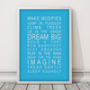 Dreams for your Boy / Make Mudpies Print in Sky Blue with Optional White Frame