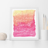 Believe in your Dreams & Believe in Yourself Inspirational Wall Art Print in Yellow and Pink