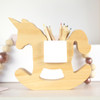 Handcrafted Wooden Unicorn Pen Holder in White