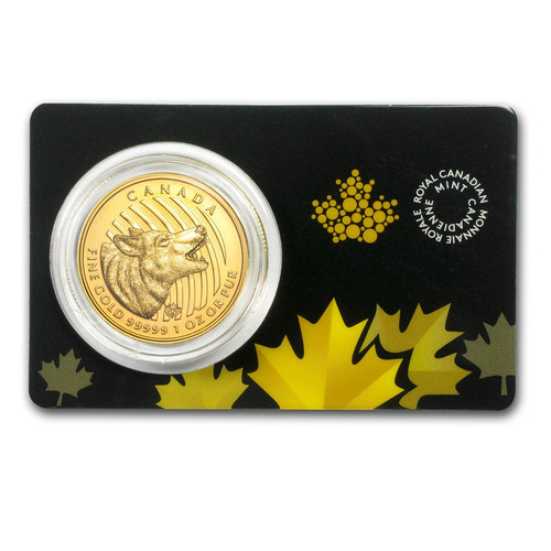 RCM 2014 Canadian Howling Wolf 1 oz Gold Coin (In Assay)