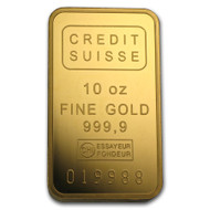 Credit Suisse 10 oz Gold Bar (w/Assay)