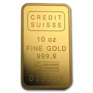 Credit Suisse 10 oz Gold Bar (w/Assay)