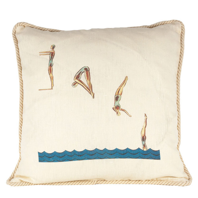 One and a Half Dive Ox Bow Linen Pillow