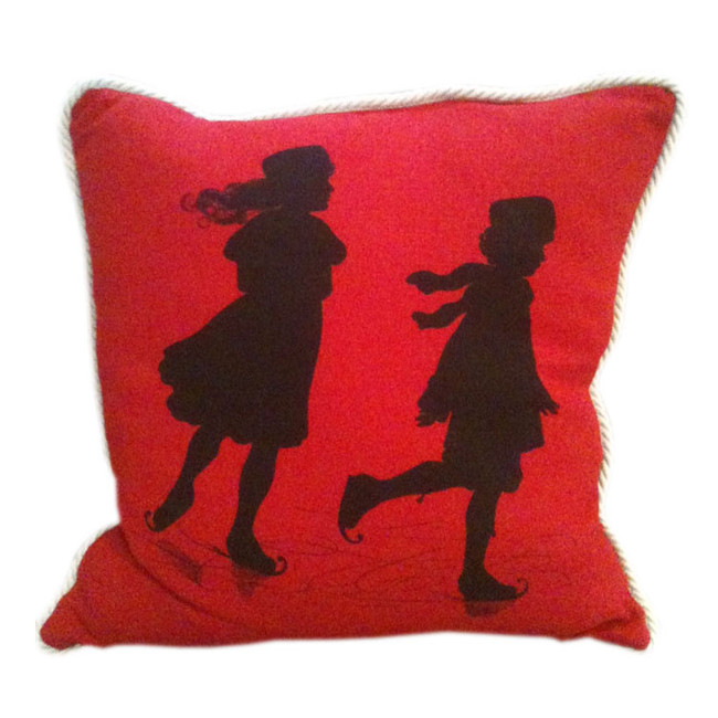 Children Ice Skating (Red) Oxbow Linen Pillow