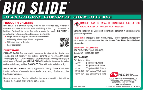 Bio Slide ready-to-use concrete form release